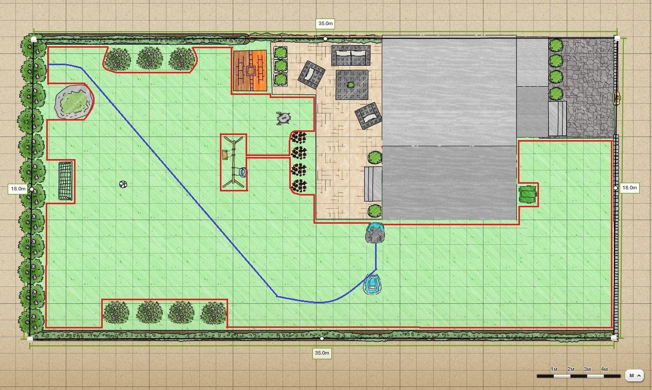 План укладки ограничительного и направляющего проводов для Husqvarna Automower 105
