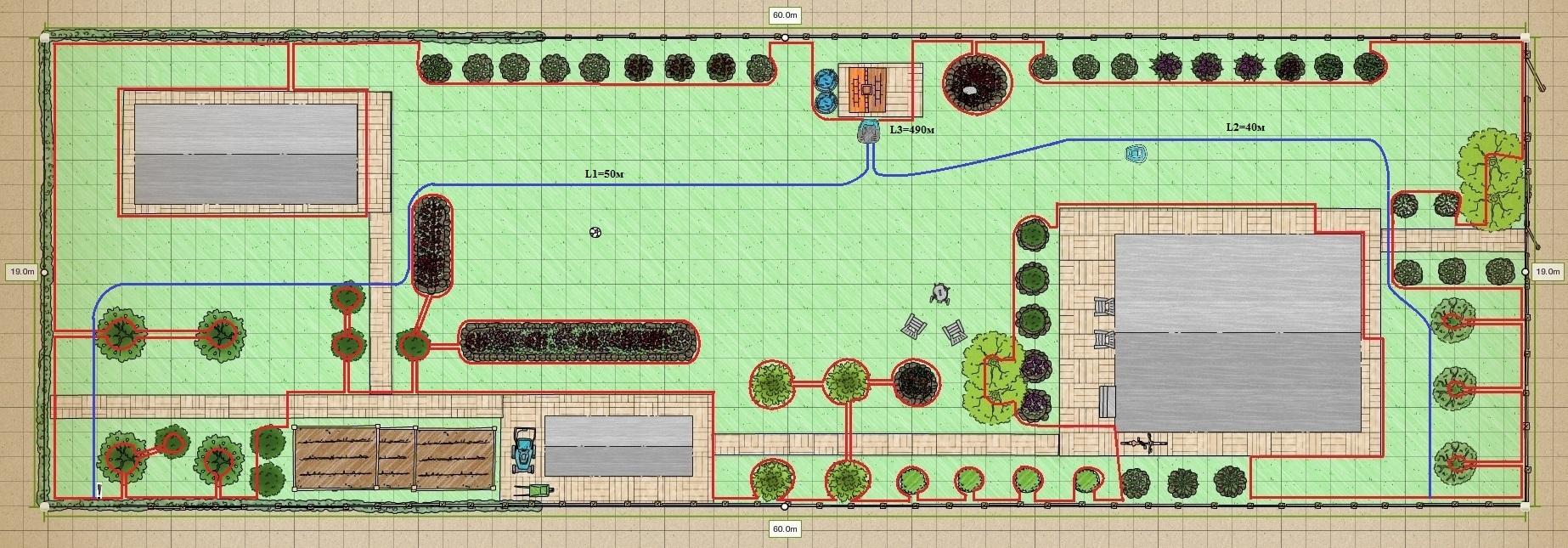 План укладки ограничительного и направляющего проводов для Husqvarna Automower 430x