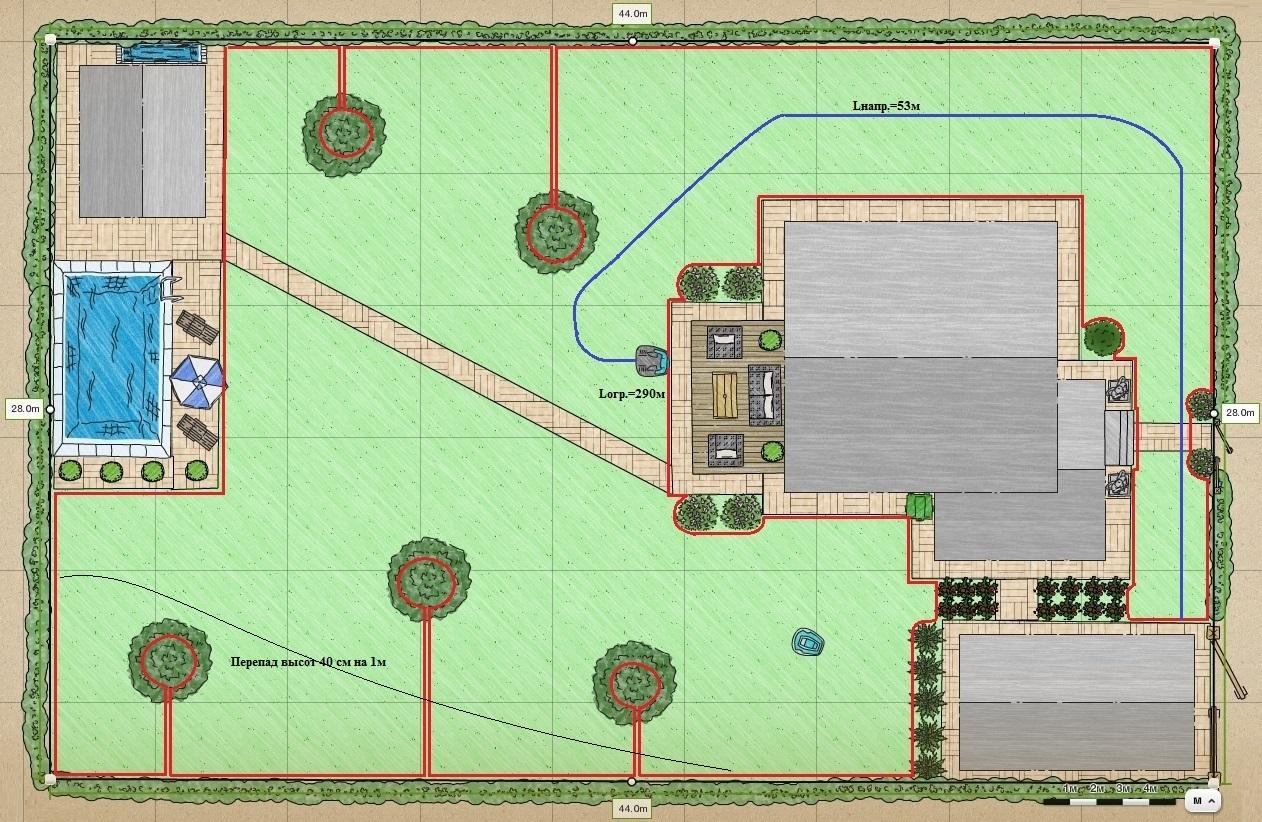 План укладки ограничительного и направляющего проводов для Husqvarna Automower 420