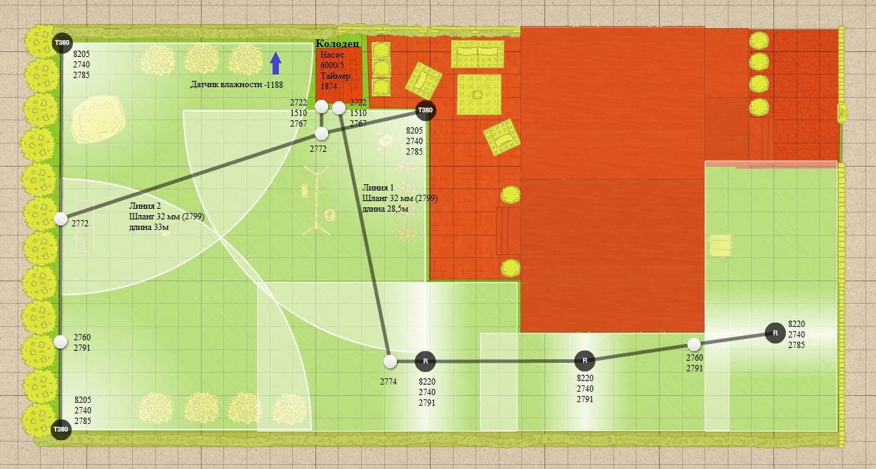 План установки дождевателей - пример 1