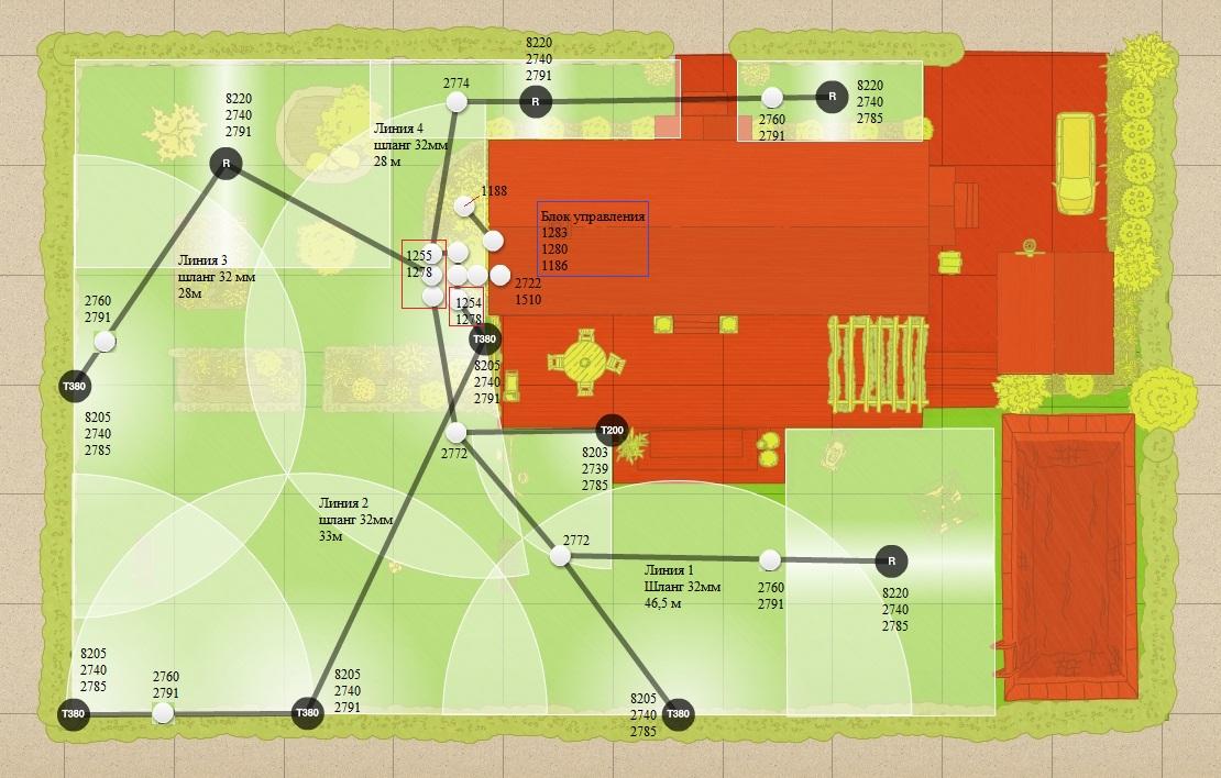 План установки дождевателей - пример 2