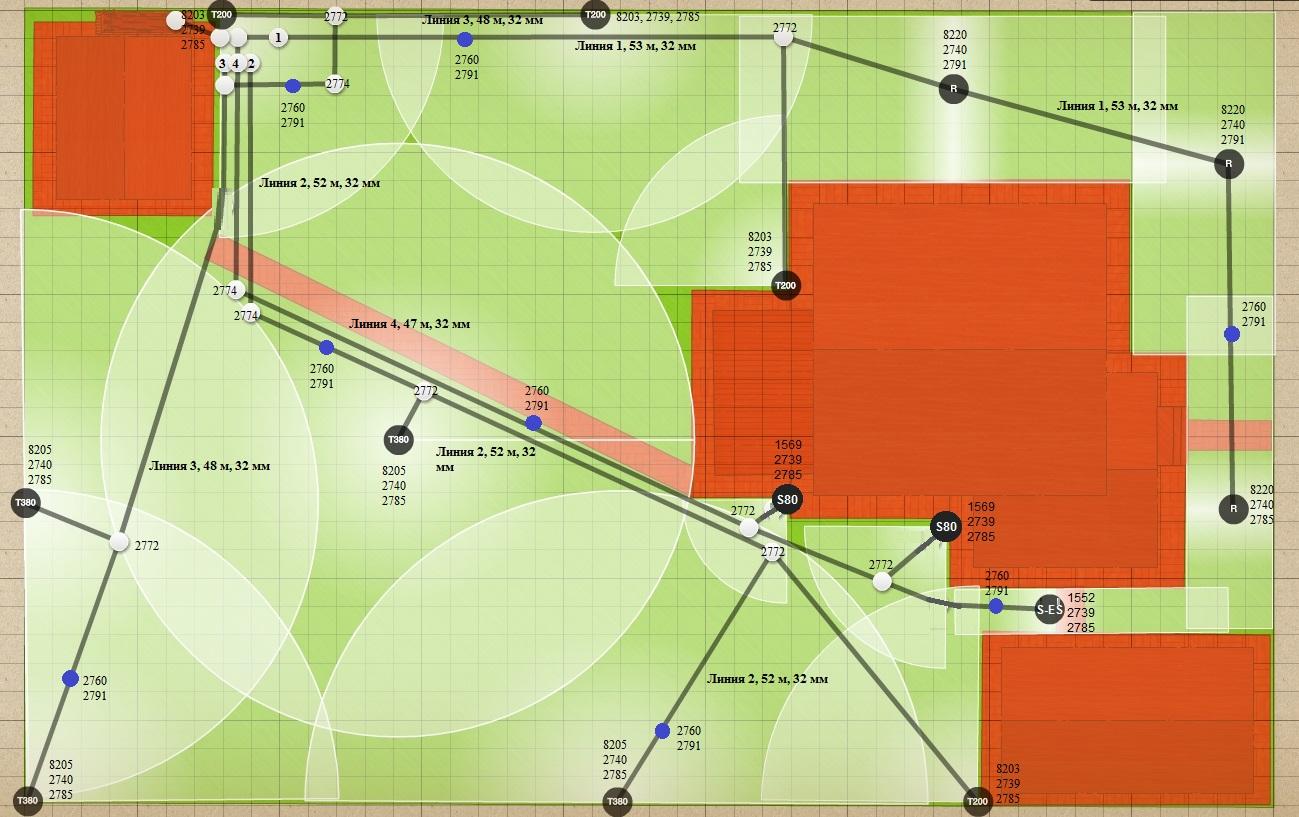 План установки дождевателей - пример 4